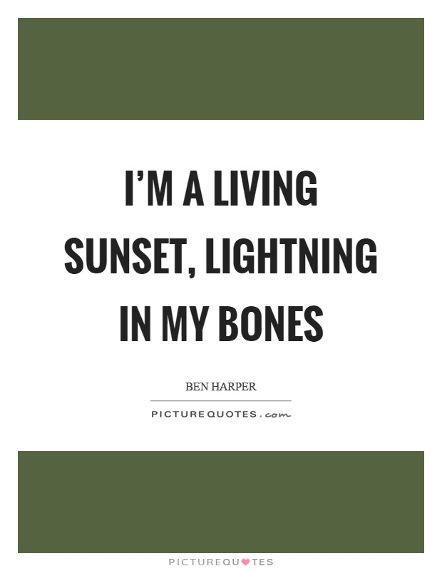 I'm a living sunset, lightning in my bones Picture Quote #1