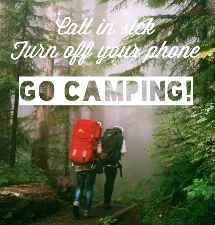 Call in sick. Turn off your phone. Go camping Picture Quote #1