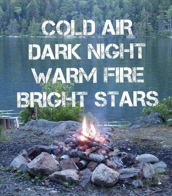 Cold air. Dark night. Warm fire. Bright stars Picture Quote #1