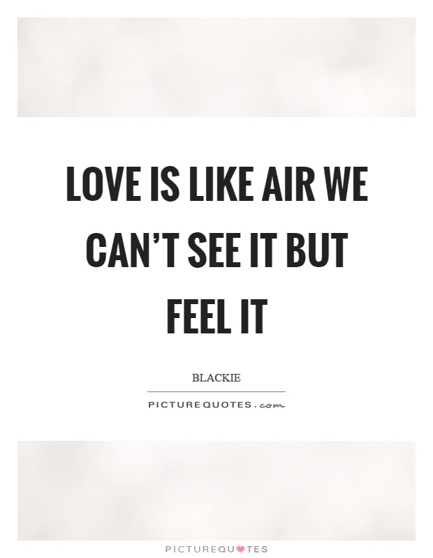Love is like air we can't see it but feel it Picture Quote #1