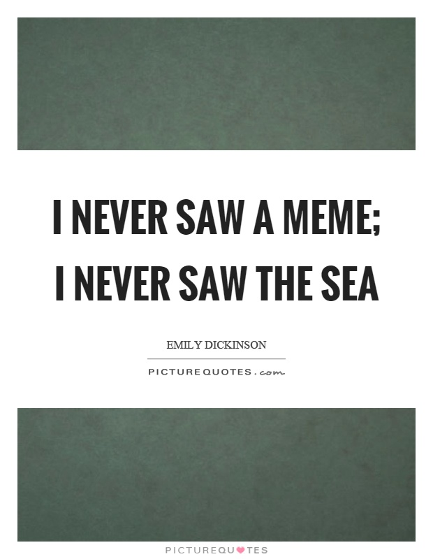 I never saw a meme; I never saw the sea Picture Quote #1