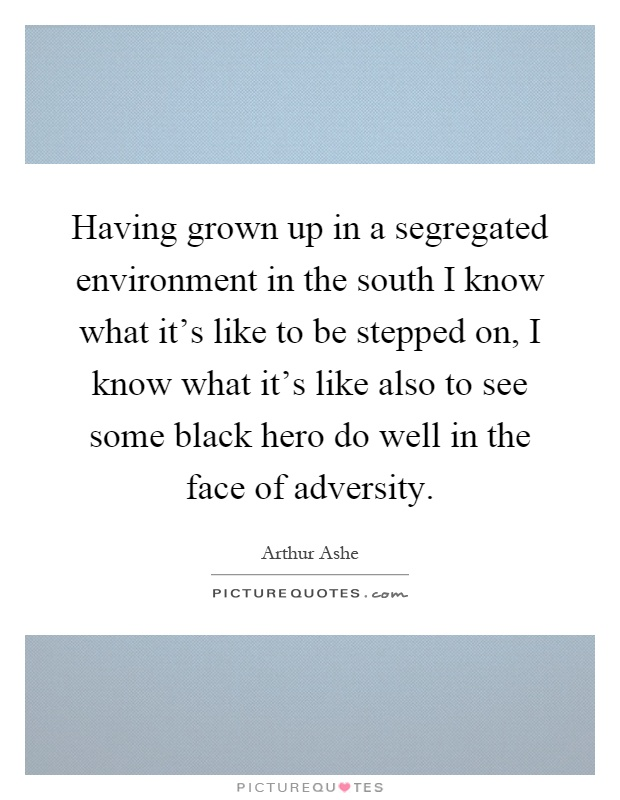 Having grown up in a segregated environment in the south I know what it's like to be stepped on, I know what it's like also to see some black hero do well in the face of adversity Picture Quote #1