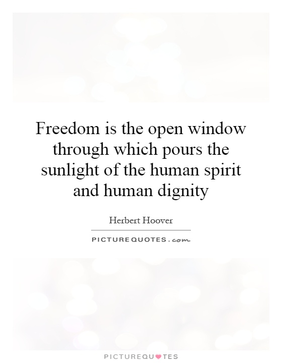 Freedom is the open window through which pours the sunlight of the human spirit and human dignity Picture Quote #1