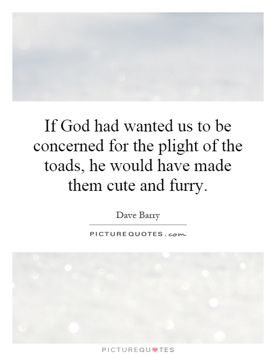If God had wanted us to be concerned for the plight of the toads, he would have made them cute and furry Picture Quote #1
