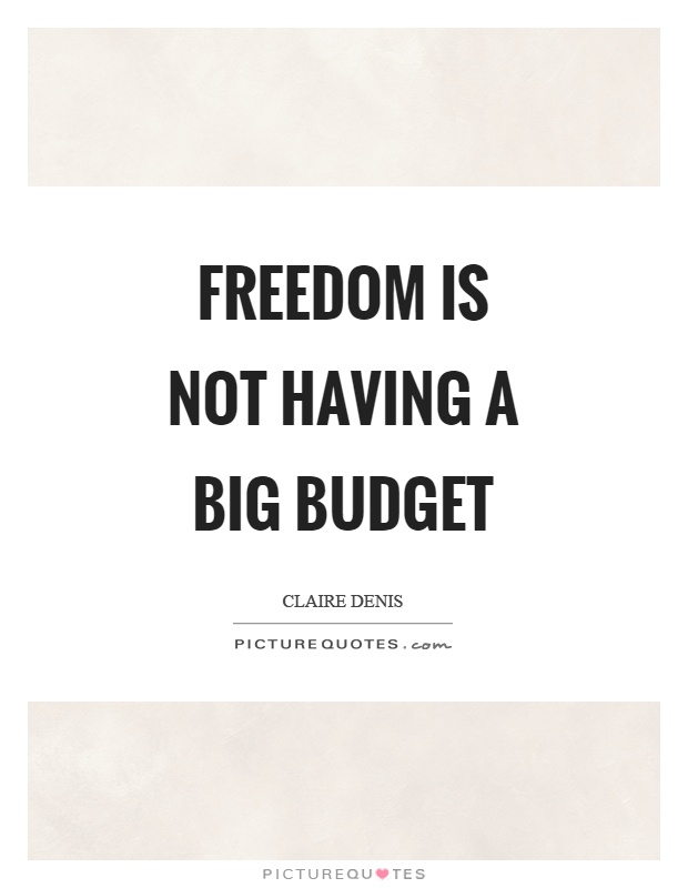 Freedom is not having a big budget Picture Quote #1