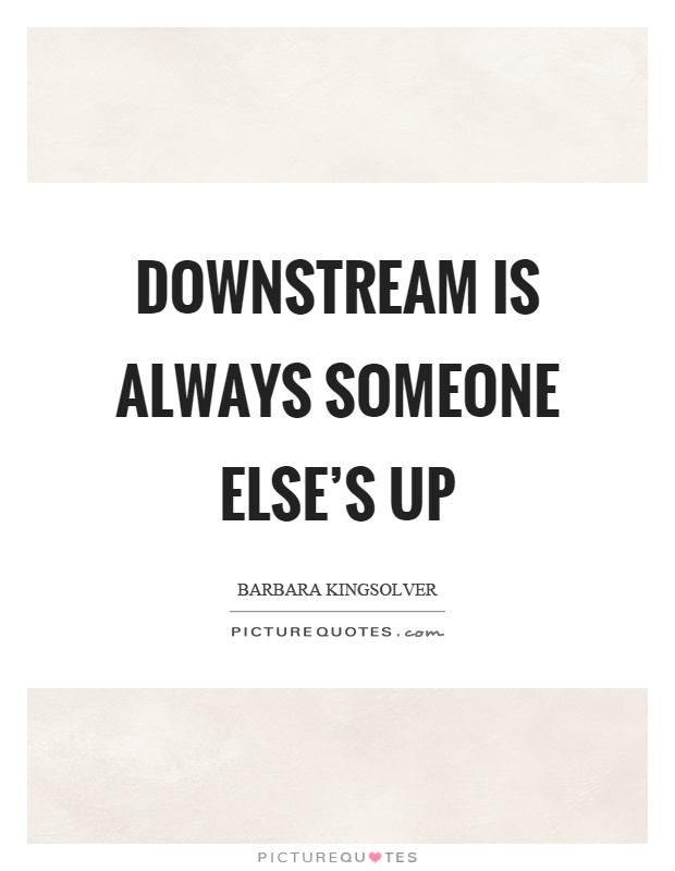 Downstream is always someone else's up Picture Quote #1
