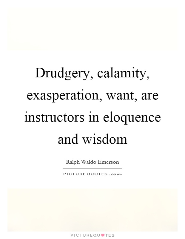 Drudgery, calamity, exasperation, want, are instructors in eloquence and wisdom Picture Quote #1