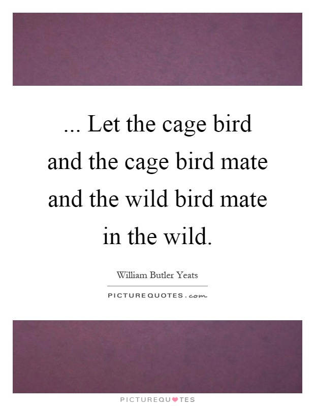 ... Let the cage bird and the cage bird mate and the wild bird mate in the wild Picture Quote #1