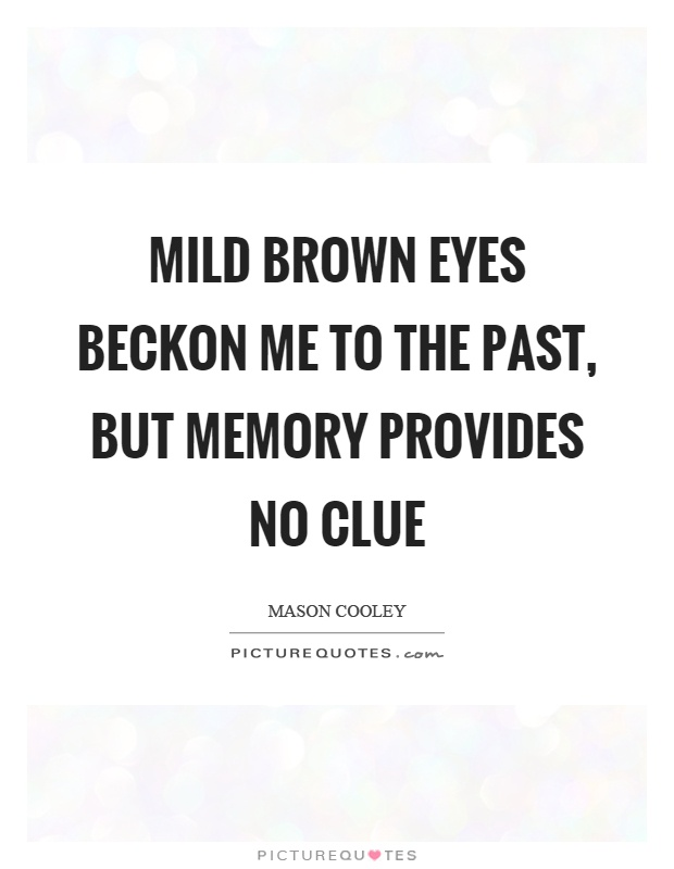 Mild brown eyes beckon me to the past, but memory provides no clue Picture Quote #1