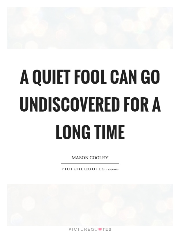 A quiet fool can go undiscovered for a long time Picture Quote #1