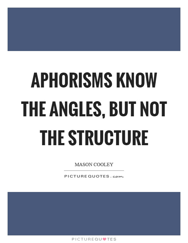 Aphorisms know the angles, but not the structure Picture Quote #1