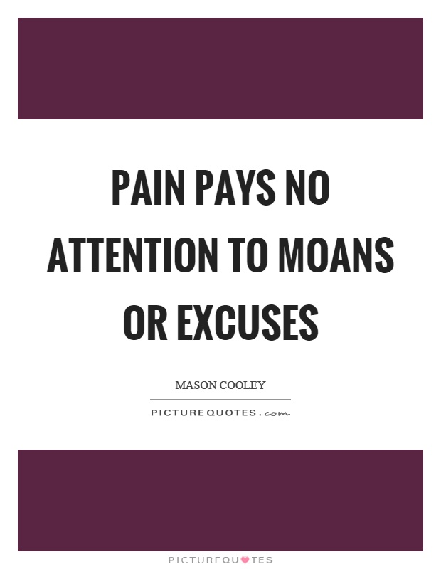 Pain pays no attention to moans or excuses Picture Quote #1