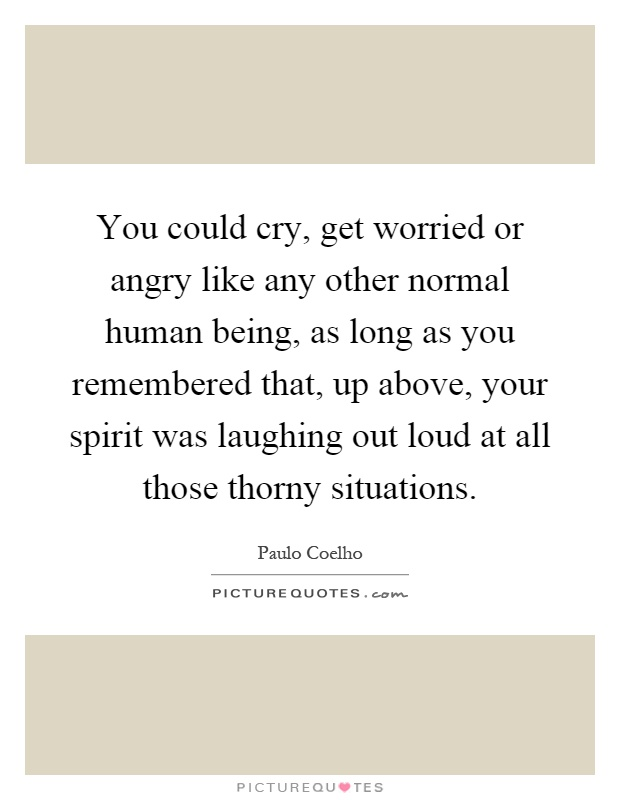 You could cry, get worried or angry like any other normal human being, as long as you remembered that, up above, your spirit was laughing out loud at all those thorny situations Picture Quote #1