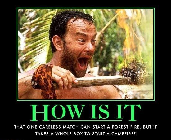 How is it that one careless match can start a forest fire, but it takes a whole box to start a campfire? Picture Quote #1