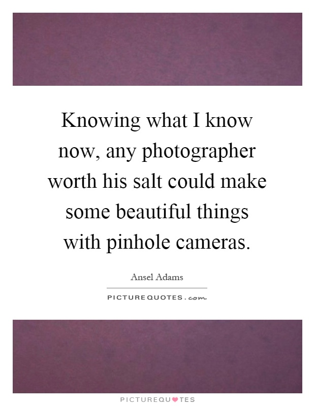 Knowing what I know now, any photographer worth his salt could make some beautiful things with pinhole cameras Picture Quote #1