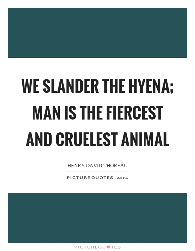 We slander the hyena; man is the fiercest and cruelest animal Picture Quote #1