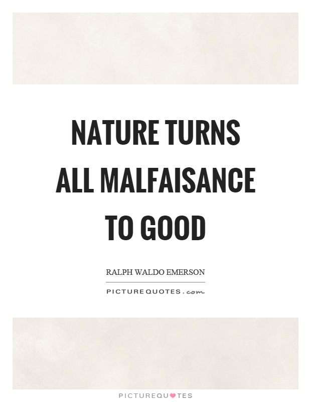 Nature turns all malfaisance to good Picture Quote #1