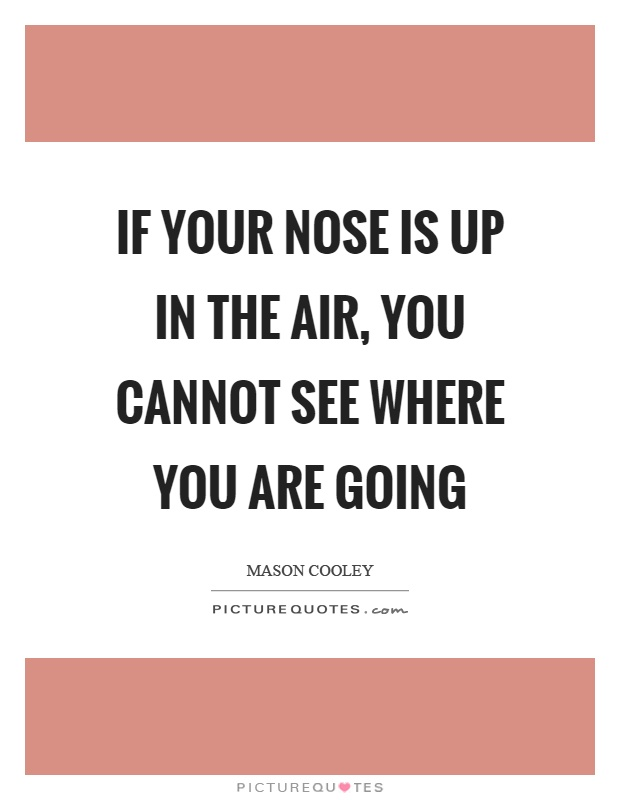 If your nose is up in the air, you cannot see where you are going Picture Quote #1