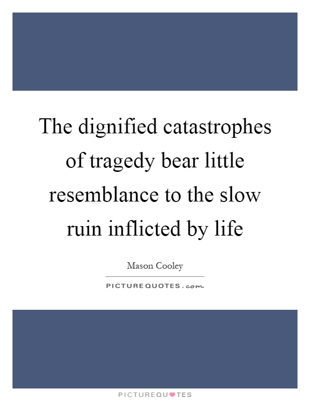 The dignified catastrophes of tragedy bear little resemblance to the slow ruin inflicted by life Picture Quote #1