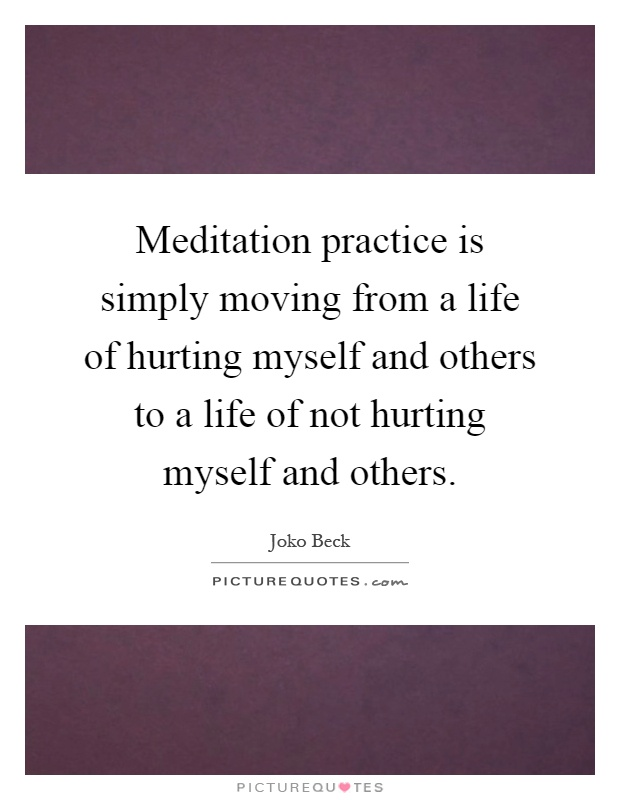 Meditation practice is simply moving from a life of hurting myself and others to a life of not hurting myself and others Picture Quote #1