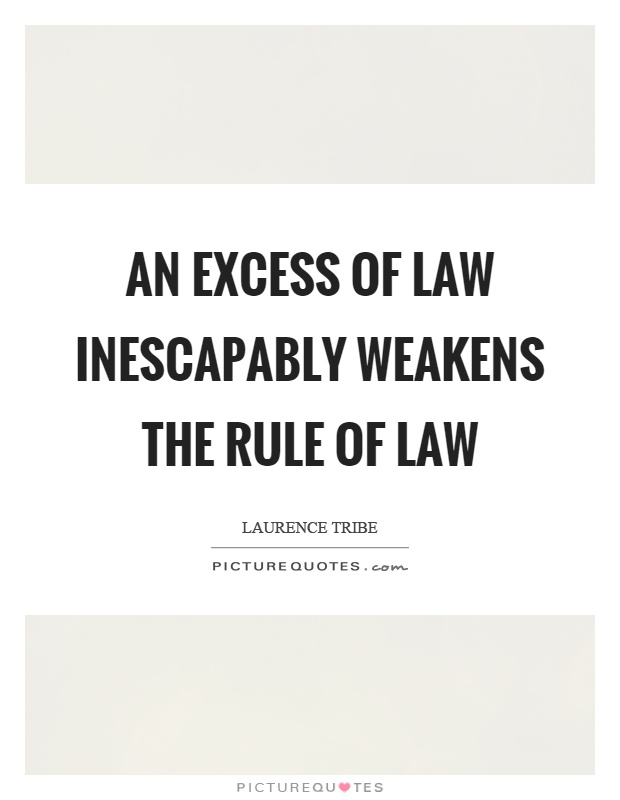 An excess of law inescapably weakens the rule of law Picture Quote #1