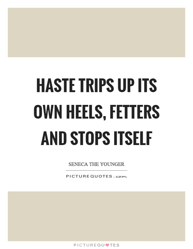 Haste trips up its own heels, fetters and stops itself Picture Quote #1