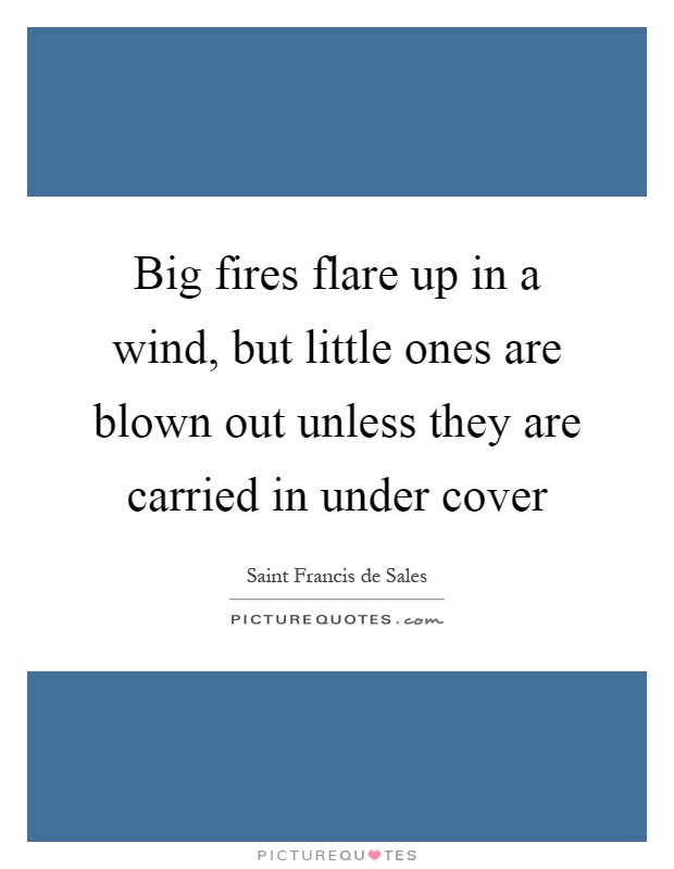 Big fires flare up in a wind, but little ones are blown out unless they are carried in under cover Picture Quote #1