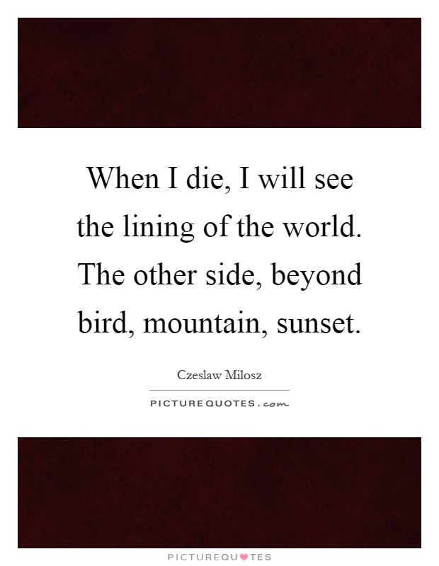 When I die, I will see the lining of the world. The other side, beyond bird, mountain, sunset Picture Quote #1
