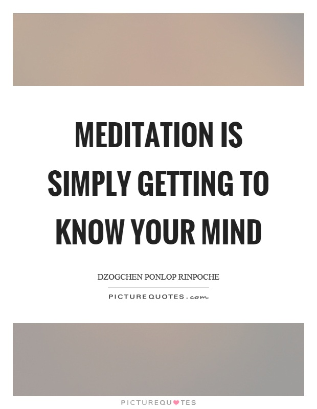 Meditation is simply getting to know your mind Picture Quote #1