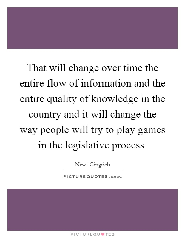 That will change over time the entire flow of information and the entire quality of knowledge in the country and it will change the way people will try to play games in the legislative process Picture Quote #1
