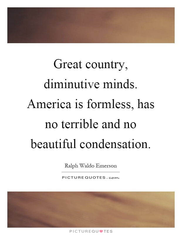 Great country, diminutive minds. America is formless, has no terrible and no beautiful condensation Picture Quote #1
