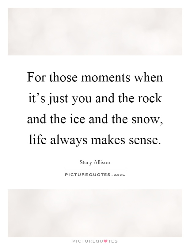 For those moments when it's just you and the rock and the ice and the snow, life always makes sense Picture Quote #1