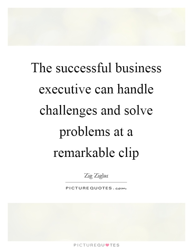 The successful business executive can handle challenges and solve problems at a remarkable clip Picture Quote #1