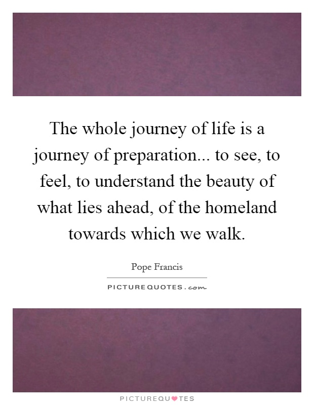 The whole journey of life is a journey of preparation... to see, to feel, to understand the beauty of what lies ahead, of the homeland towards which we walk Picture Quote #1