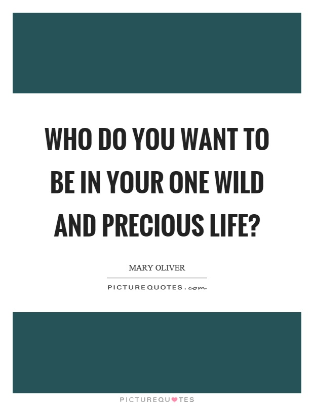 Who do you want to be in your one wild and precious life? Picture Quote #1