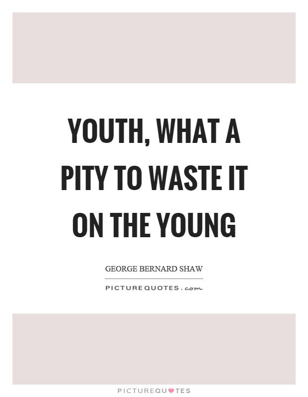 Youth, what a pity to waste it on the young Picture Quote #1