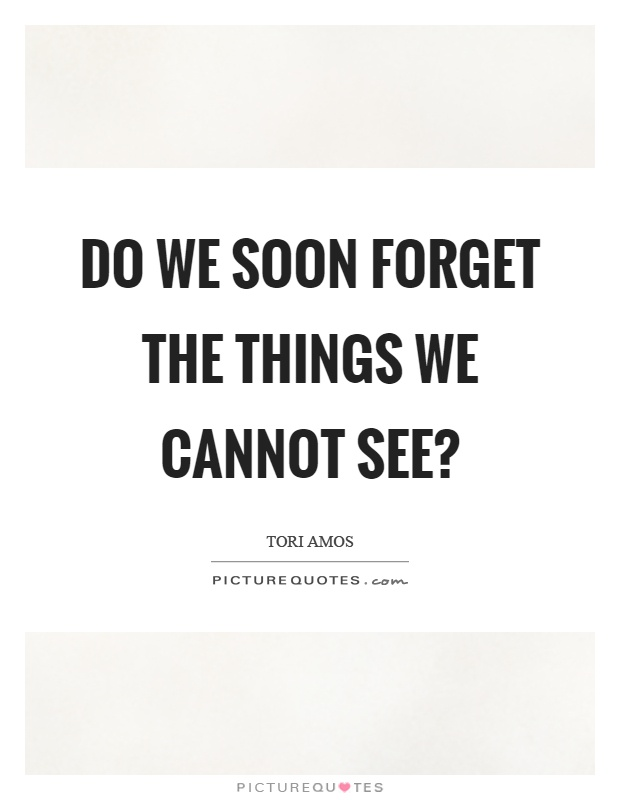 Do we soon forget the things we cannot see? Picture Quote #1