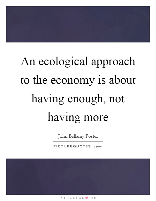 An ecological approach to the economy is about having enough, not having more Picture Quote #1