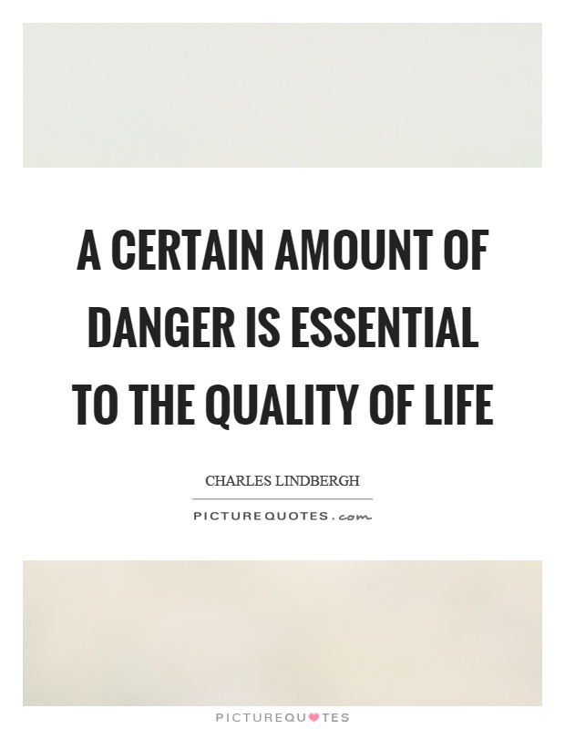 A certain amount of danger is essential to the quality of life Picture Quote #1