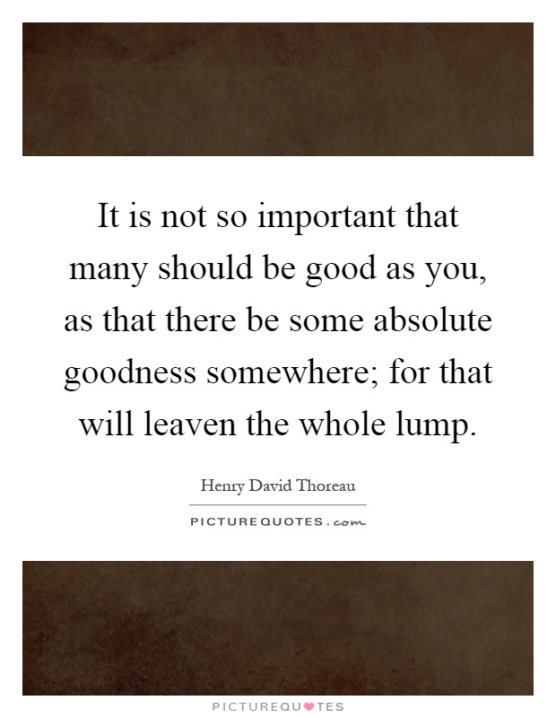It is not so important that many should be good as you, as that there be some absolute goodness somewhere; for that will leaven the whole lump Picture Quote #1