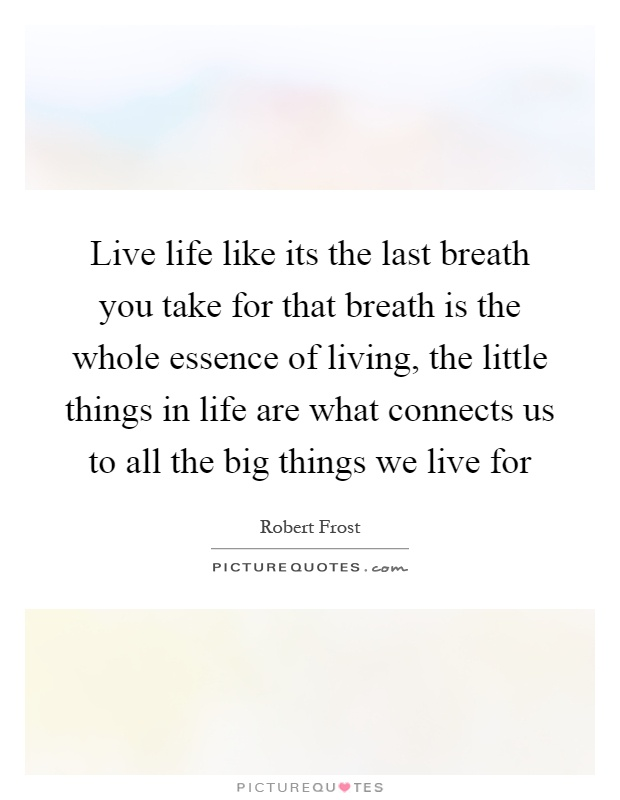 Live life like its the last breath you take for that breath is the whole essence of living, the little things in life are what connects us to all the big things we live for Picture Quote #1