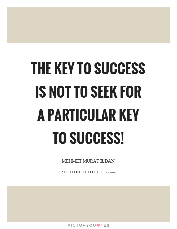 The key to success is not to seek for a particular key to success! Picture Quote #1