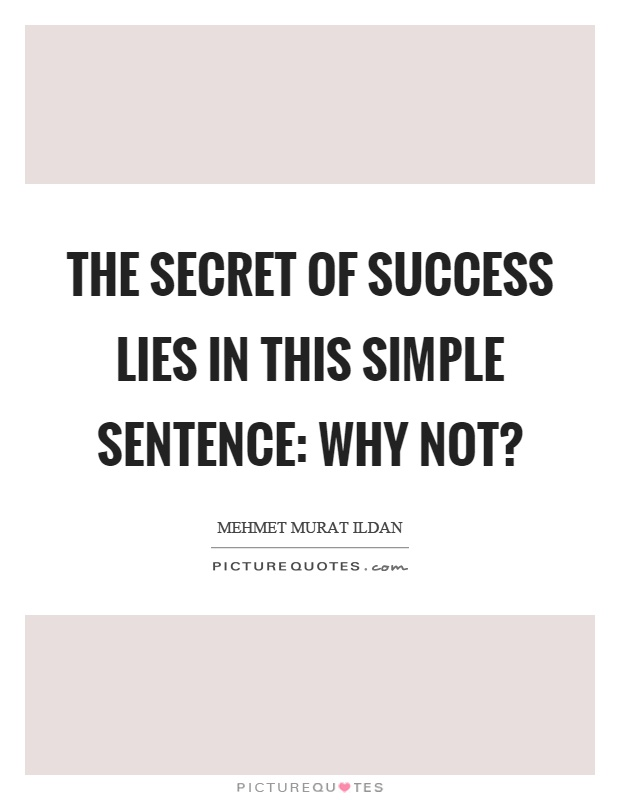 The secret of success lies in this simple sentence: Why not? Picture Quote #1