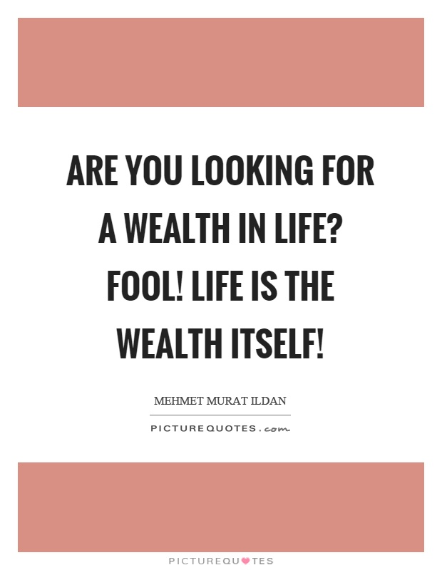 Are you looking for a wealth in life? Fool! Life is the wealth itself! Picture Quote #1