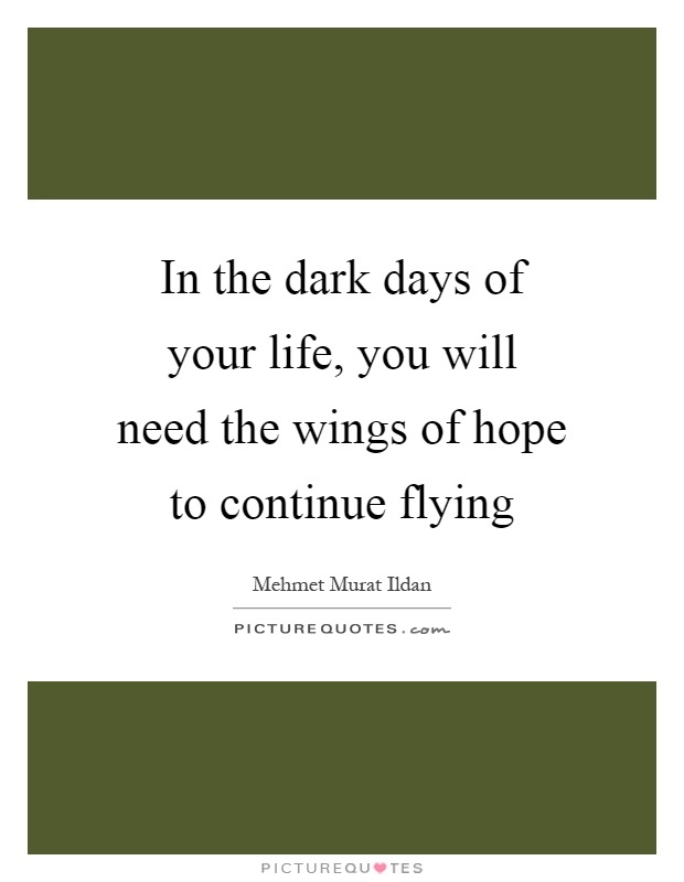 In the dark days of your life, you will need the wings of hope to continue flying Picture Quote #1