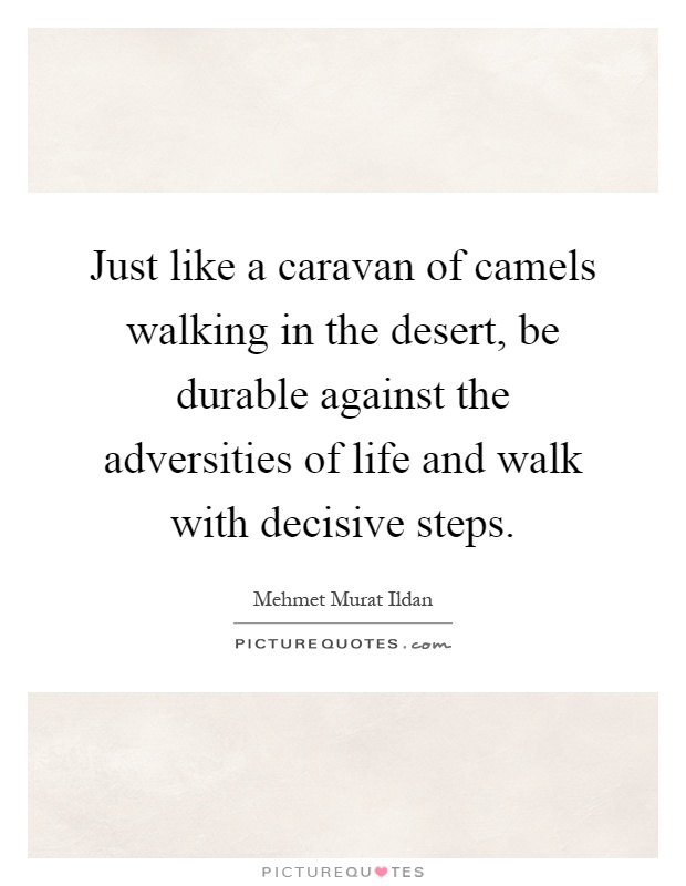 Just like a caravan of camels walking in the desert, be durable against the adversities of life and walk with decisive steps Picture Quote #1