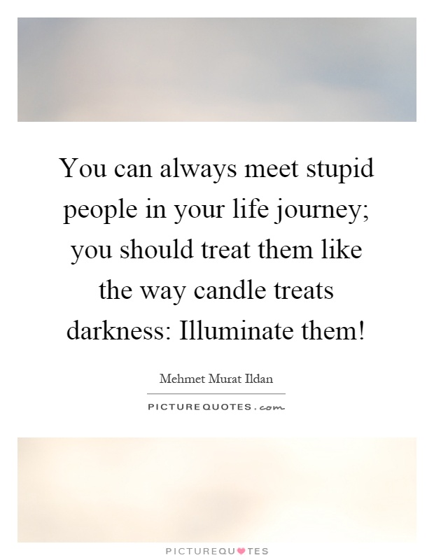 You can always meet stupid people in your life journey; you should treat them like the way candle treats darkness: Illuminate them! Picture Quote #1