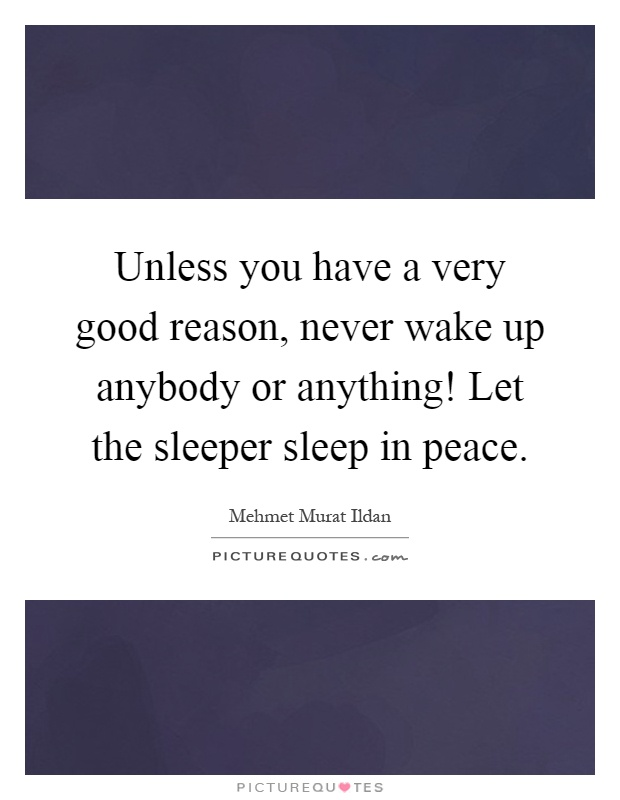 Unless you have a very good reason, never wake up anybody or anything! Let the sleeper sleep in peace Picture Quote #1