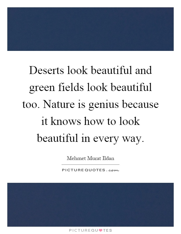 Deserts look beautiful and green fields look beautiful too. Nature is genius because it knows how to look beautiful in every way Picture Quote #1