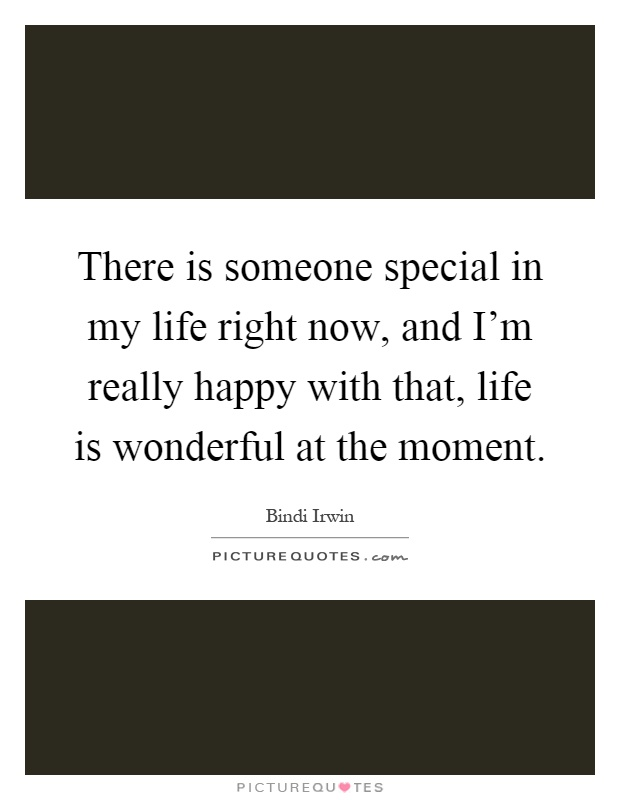 There is someone special in my life right now, and I'm really happy with that, life is wonderful at the moment Picture Quote #1